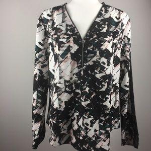 Calvin Klein abstract print blouse w/ mesh sleeve.